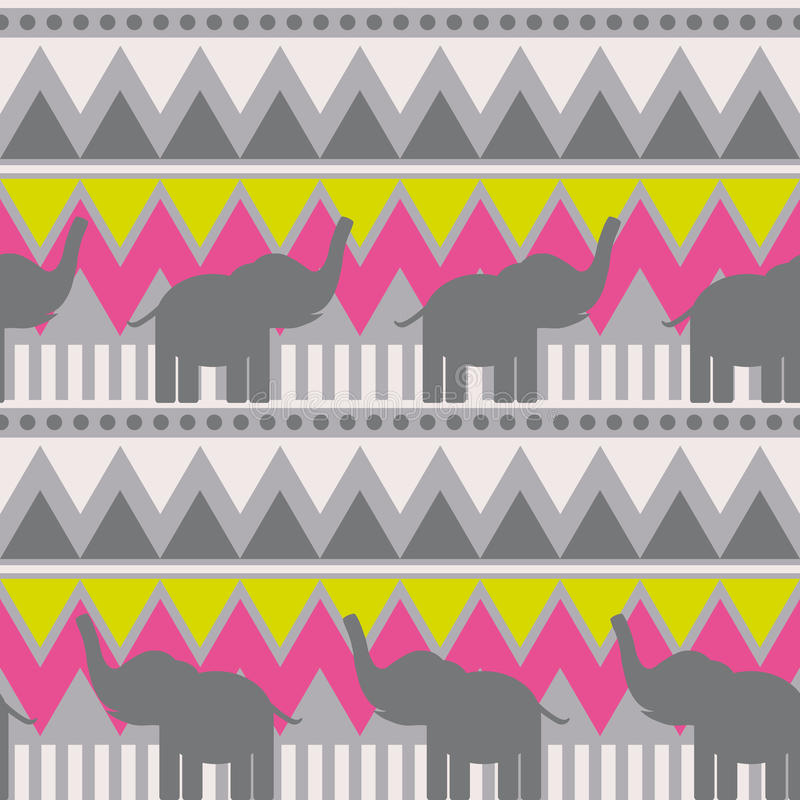 Abstrakt geometrisk sömlös modell med elefanten, triangeln och linjen stam- modell geometriskt tryck för rosa färggulinggrå färge royaltyfri illustrationer