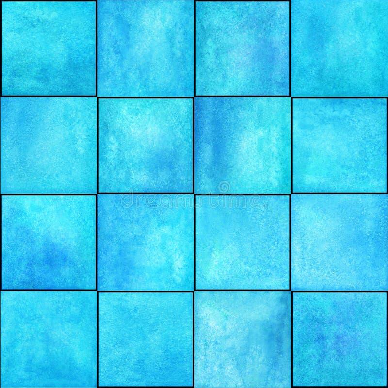 Abstrakt geometrisk sömlös modell med fyrkanter Färgrikt akvarellkonstverk royaltyfri fotografi
