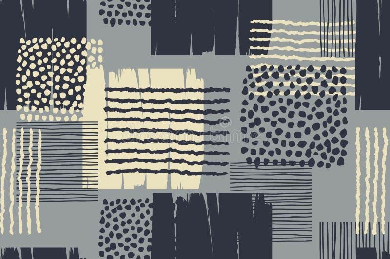 Abstrakt geometrisk sömlös modell med moderiktig hand drog texturer royaltyfri illustrationer