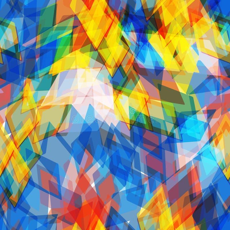 Abstrakt geometrisk sömlös modell med romben och briljanta dekorativa geometriska och abstrakta moderna beståndsdelar Gult rött vektor illustrationer