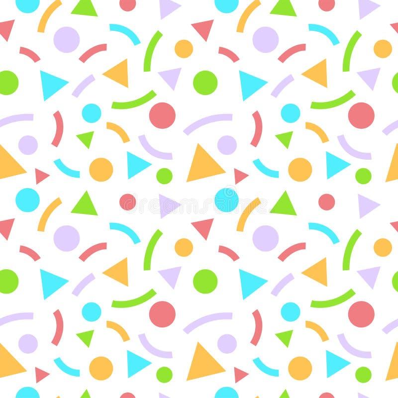 Abstrakt geometrisk sömlös modell med trianglar och cirklar royaltyfri illustrationer
