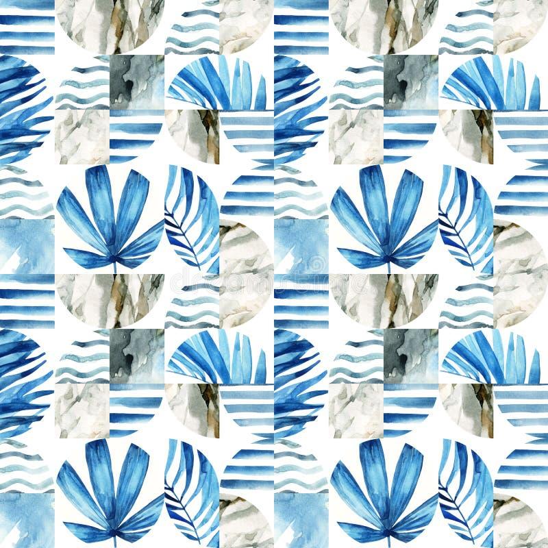Abstrakt geometrisk sömlös modell: tropiska sidor, vågor, band, halvcirklar, cirklar, fyrkanter, grunge, grained som är pappers-, royaltyfri illustrationer