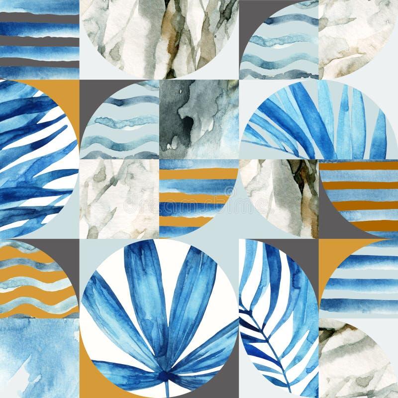 Abstrakt geometrisk sömlös modell: tropiska sidor, vågor, band, halvcirklar, cirklar, fyrkanter, grunge, grained som är pappers-, stock illustrationer