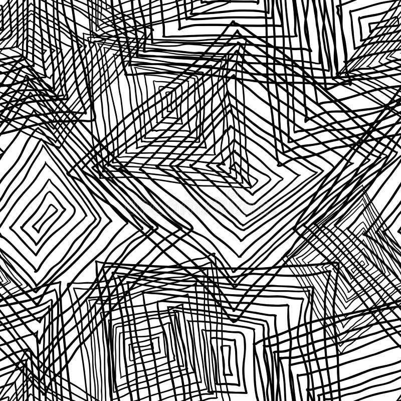 Abstrakt geometrisk sömlös monokrom bakgrund vektor illustrationer