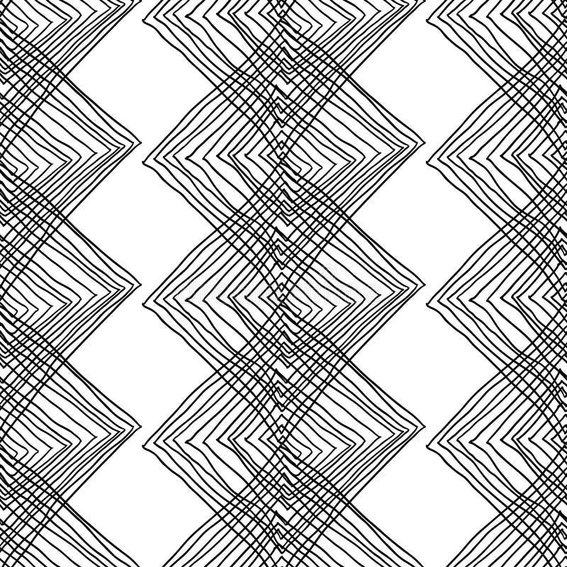 Abstrakt geometrisk sömlös monokrom bakgrund royaltyfri illustrationer