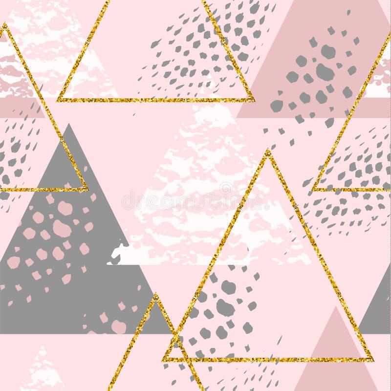 Abstrakt geometrisk sömlös repetitionmodell med trianglar stock illustrationer