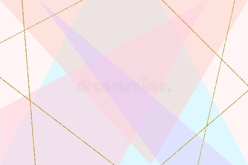 Abstrakt geometrisk sammansättning i pastellfärgade rosa färger, blått, lilor och guld blänker linjer Affisch för modern design,  vektor illustrationer
