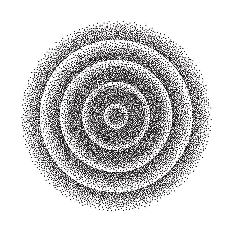 Abstrakt geometrisk Shape vektor Svart prucken rund cirkel Filmkorn, oväsen, Grungetextur Dotwork gravyrvektor stock illustrationer