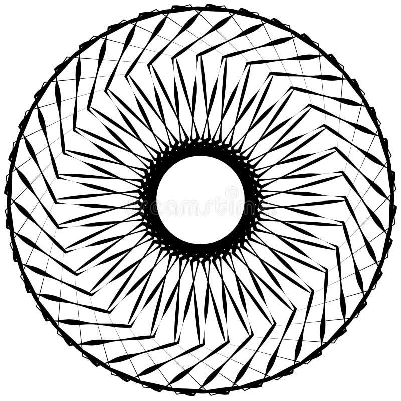 Abstrakt geometrisk spiral beståndsdel med skärande linjer royaltyfri illustrationer