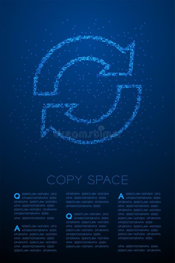 Abstrakt geometrisk symbol för tecken för synkronisering för modell för PIXEL för Bokeh cirkelprick, illustration för färg för de royaltyfri illustrationer