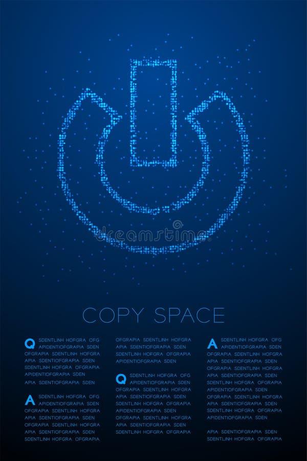 Abstrakt geometrisk symbol f?r tecken f?r makt f?r modell f?r PIXEL f?r Bokeh cirkelprick, illustration f?r f?rg f?r teknologibeg royaltyfri illustrationer