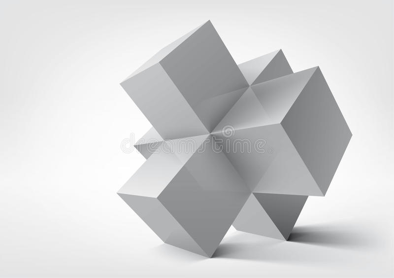 Abstrakt geometriska former från kuber stock illustrationer