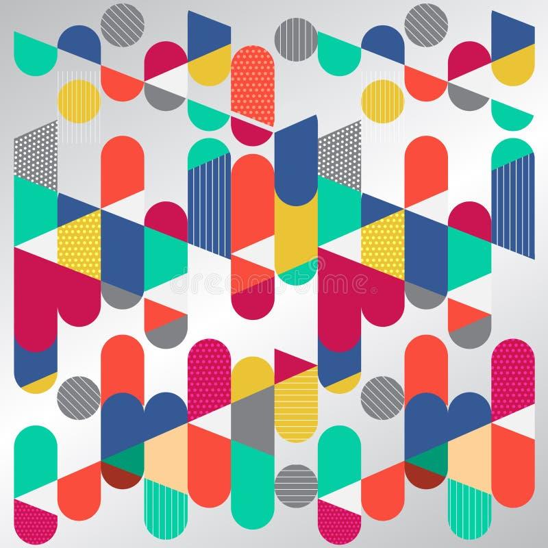 Abstrakt geometriskt diagram, färgrik cirkelkapsel Plana Dynami vektor illustrationer