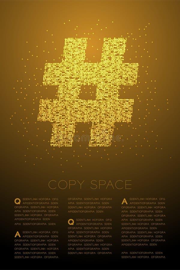 Abstrakt geometriskt Hashtag för modell för PIXEL för Bokeh cirkelprick tecken, socialt nätverk att förbinda illustrationen för f stock illustrationer