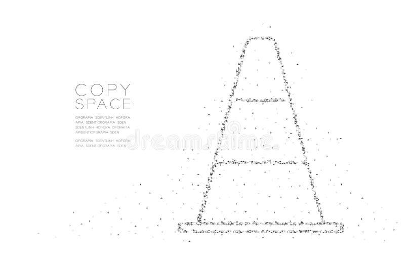 Abstrakt geometriskt lågt PIXEL för fyrkantig ask för polygon och kotte för triangelmodelltrafik, svart för design för begr royaltyfri illustrationer