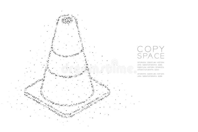 Abstrakt geometriskt lågt PIXEL för fyrkantig ask för polygon och kotte för triangelmodelltrafik, svart för design för begr vektor illustrationer