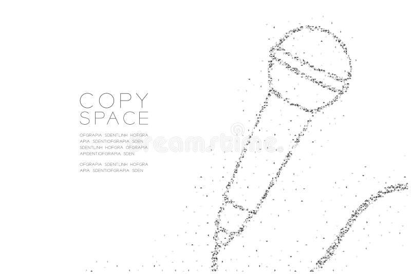 Abstrakt geometriskt lågt PIXEL för fyrkantig ask för polygon och Retro mikrofon för triangelmodell, färg för svart för design fö vektor illustrationer