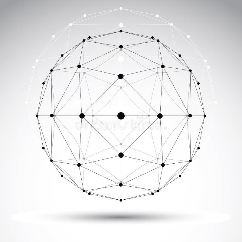 Abstrakt geometriskt objekt för wireframe 3D, modern digital technolog royaltyfri illustrationer