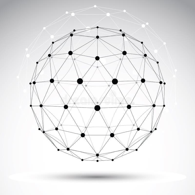 Abstrakt geometriskt objekt för wireframe 3D, vektor vektor illustrationer