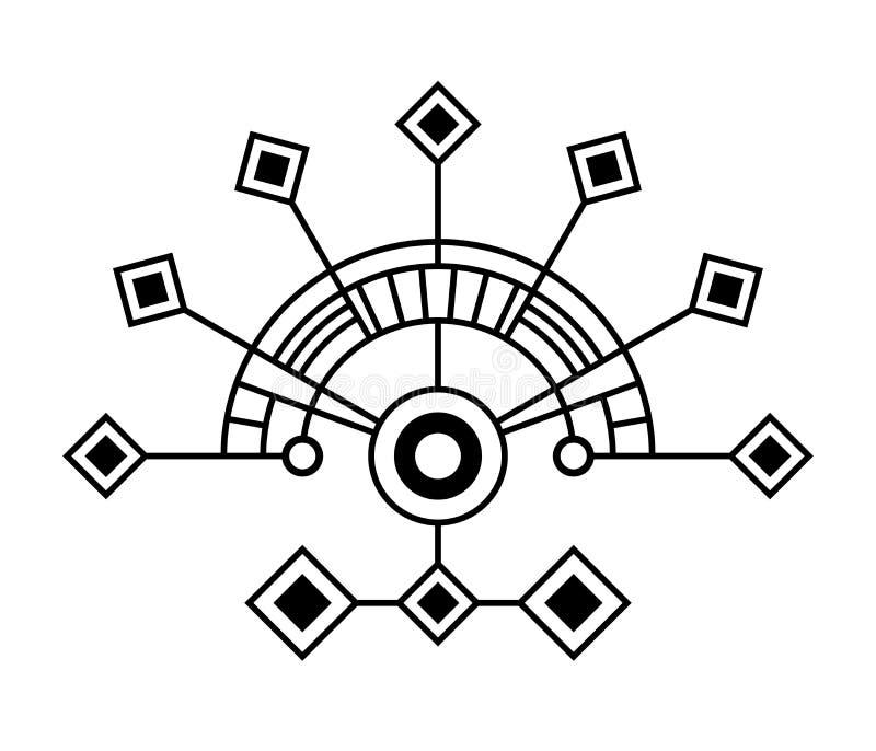Abstrakt geometriskt symbol som isoleras på vit bakgrund Sakralt geometritecken royaltyfri illustrationer