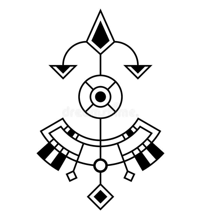 Abstrakt geometriskt symbol som isoleras på vit bakgrund Sakralt geometritecken vektor illustrationer