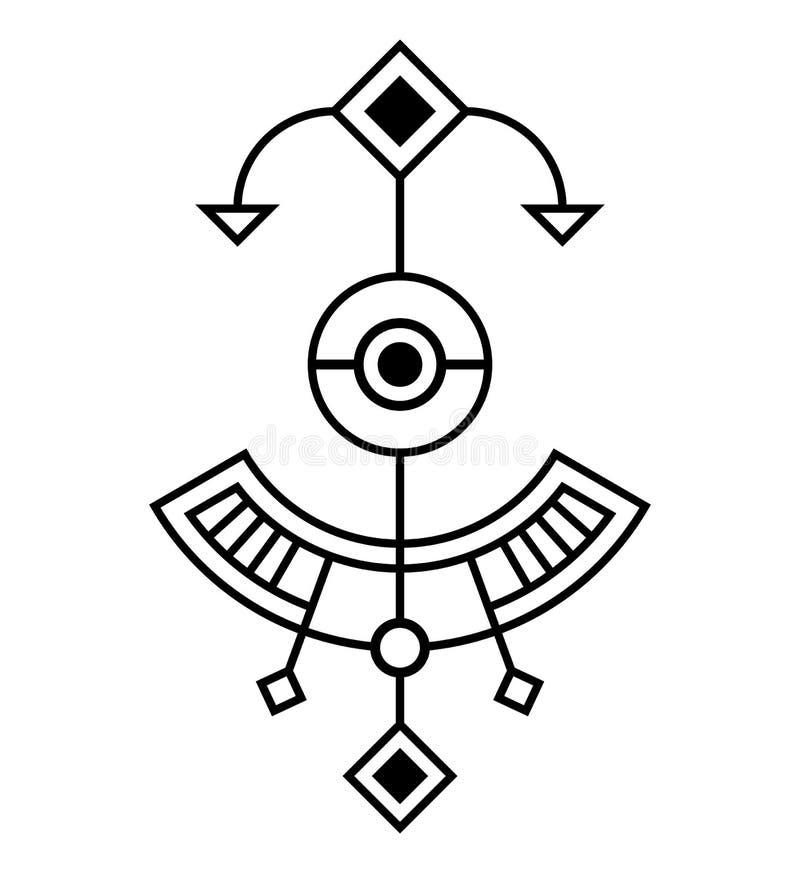 Abstrakt geometriskt symbol som isoleras på vit bakgrund Sakralt geometritecken stock illustrationer