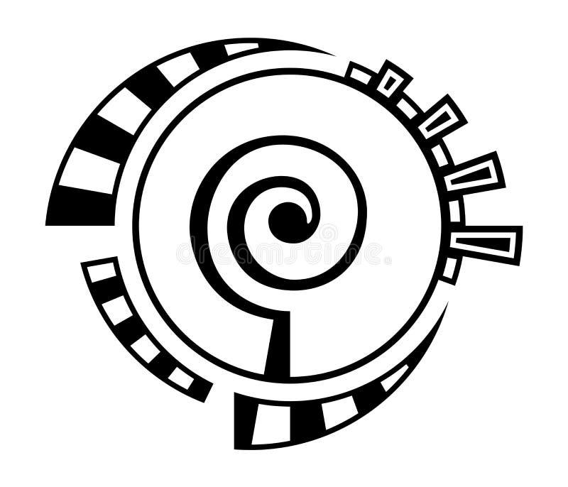 Abstrakt geometriskt symbol som isoleras på vit bakgrund Spiral rund form royaltyfri illustrationer