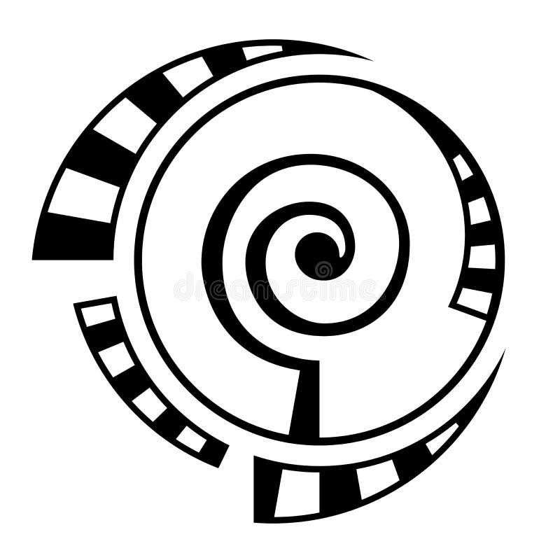 Abstrakt geometriskt symbol som isoleras på vit bakgrund Spiral rund form vektor illustrationer