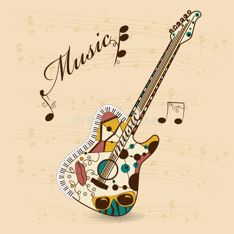 abstrakt gitarr stock illustrationer