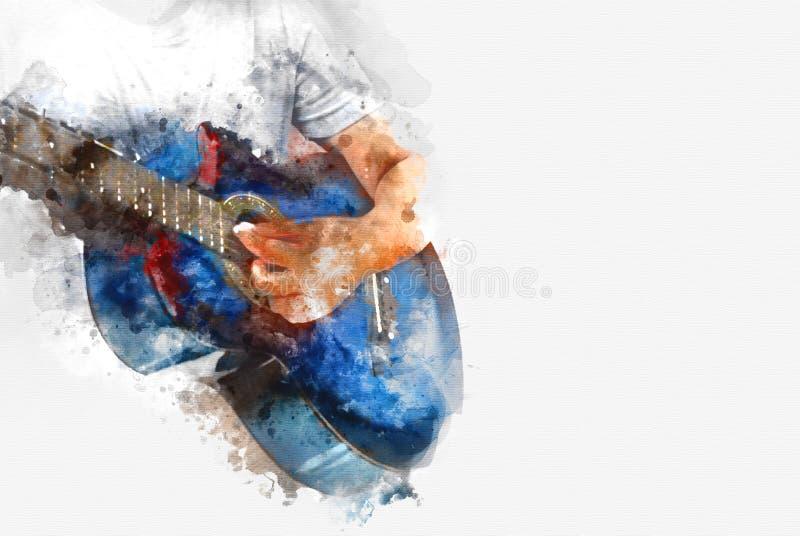 Abstrakt gitarr i förgrunden på vattenfärgmålningbakgrund vektor illustrationer