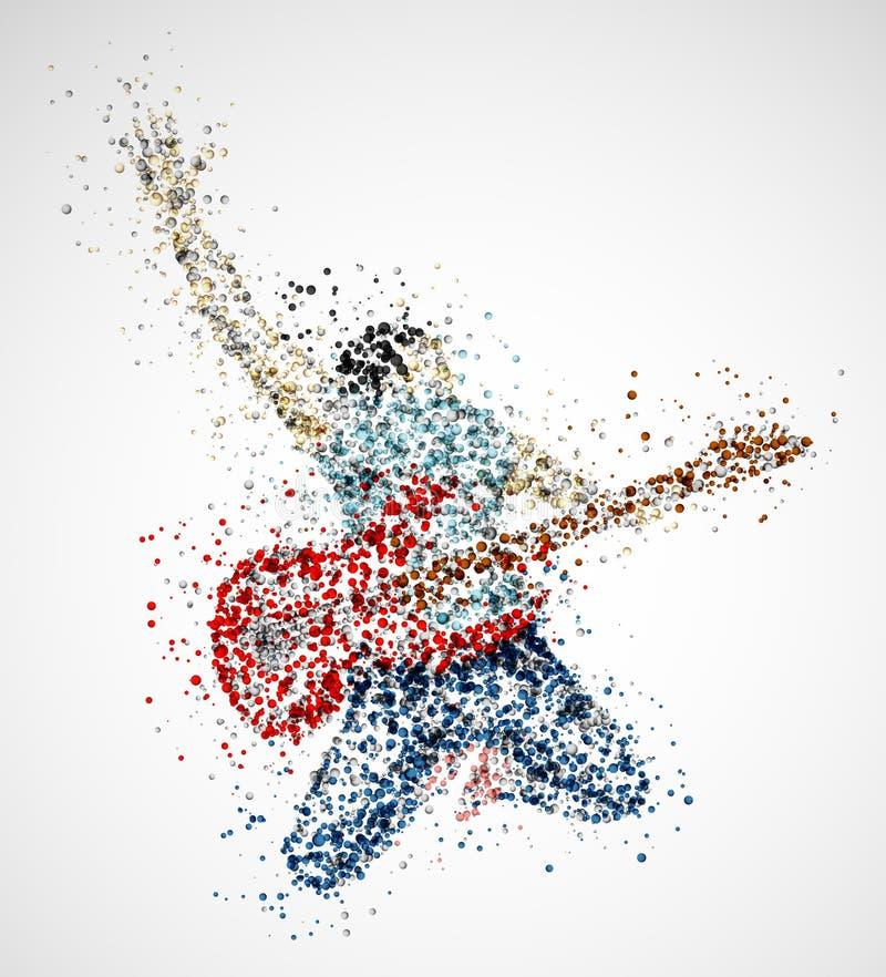 Abstrakt gitarrist stock illustrationer