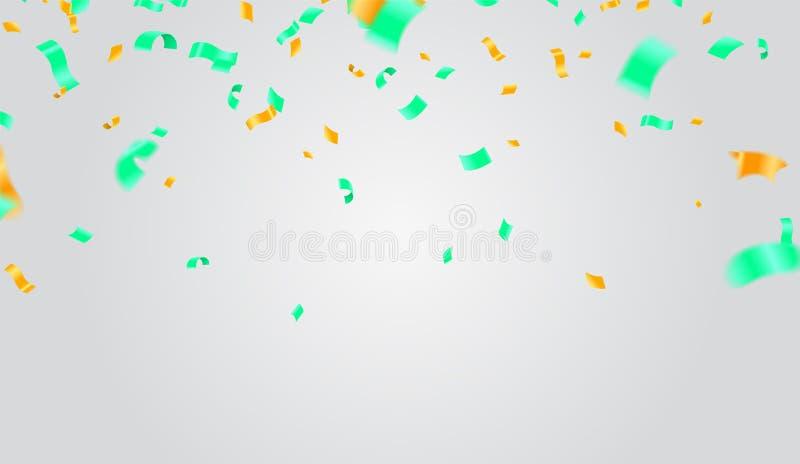 Abstrakt glänsande partibakgrund med konfettier och banderoller stock illustrationer