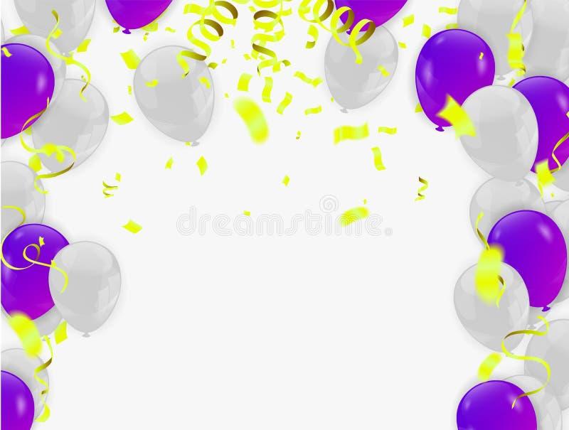 Abstrakt glänsande partibakgrund med konfettier och banderoller royaltyfri illustrationer