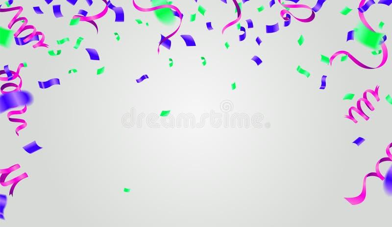 Abstrakt glänsande partibakgrund med konfettier och banderoller vektor illustrationer