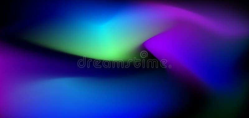 Abstrakt glöda för illustration, neonljus, minsta ljus vätska, bakgrund för vätskelutning Moderiktig för vektor modern grafisk de stock illustrationer