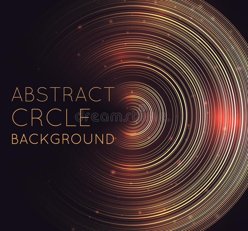 Abstrakt glödande bakgrund med koncentriska cirklar, blänker och utrymme för text Fyrkantig vykort med skenglorier Techno cirkel stock illustrationer