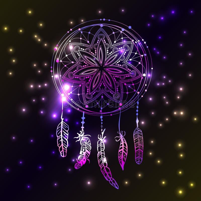 Abstrakt glödande dreamcatcher i blått- och rosa färgfärger Luminiscensillustration Boho stilbakgrund, etnisk designelem vektor illustrationer