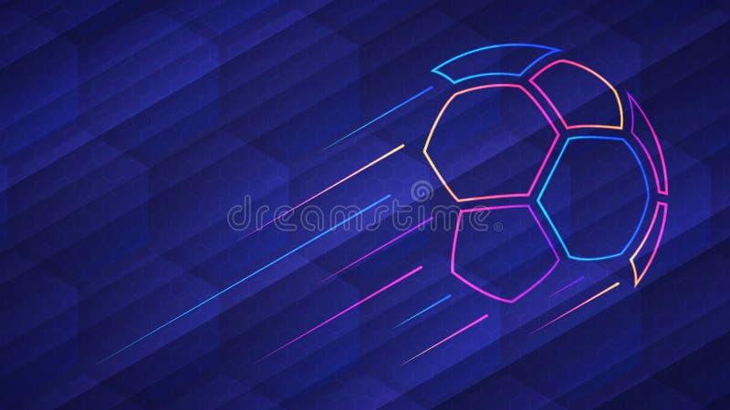 Abstrakt glödande kulör fotbollboll för neon över blå bakgrund stock illustrationer