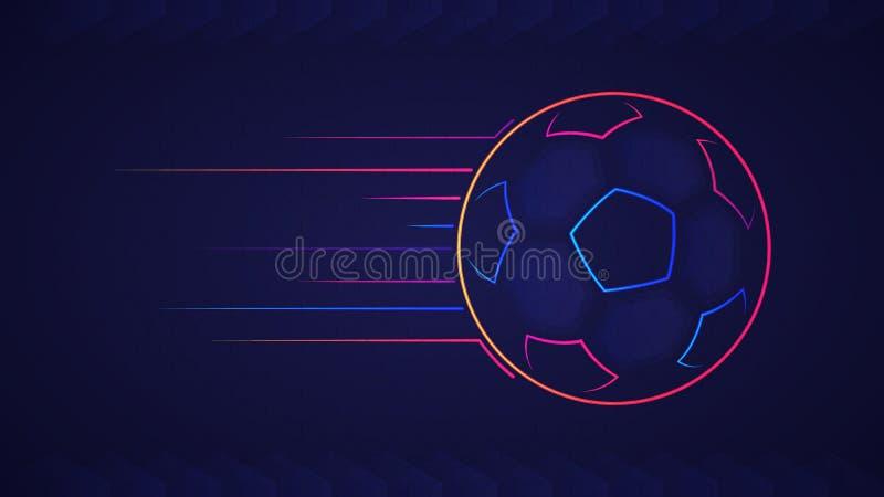 Abstrakt glödande kulör fotbollboll för neon över blå bakgrund vektor illustrationer