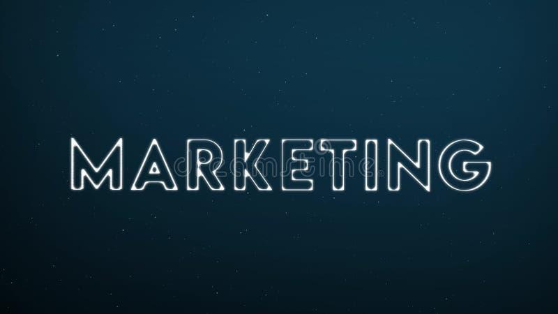 Abstrakt glödande ord MARKNADSFÖRING på mörker - blå digital bakgrund stock illustrationer