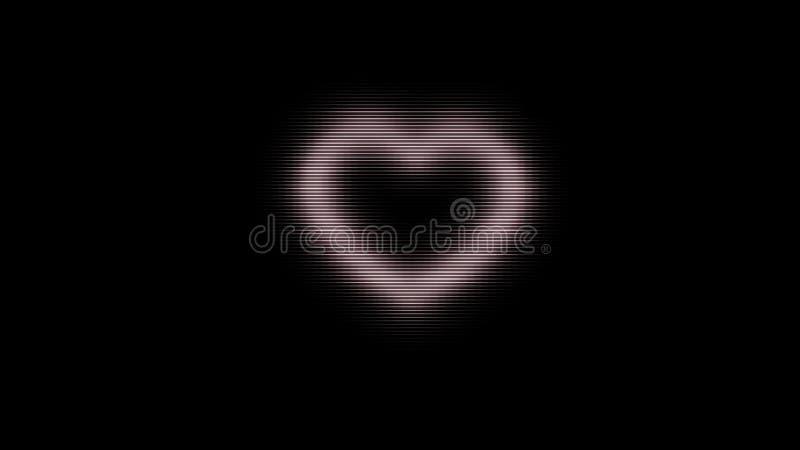 Abstrakt glödande PIXELhjärta på svart bakgrund, tekniskt felstörning djur Oväsenskärm och rosa hjärtasymbol arkivbild