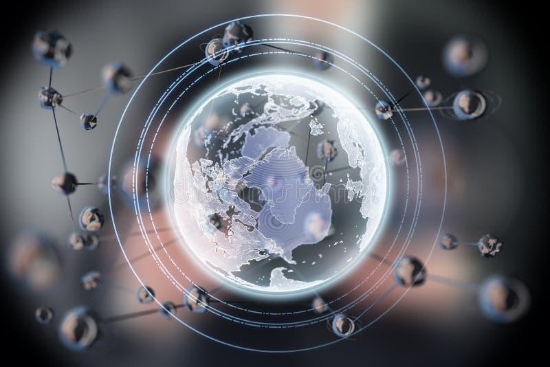 Abstrakt glödande sfärform Jord planet för begrepp 3d Vetenskap och teknikbakgrund royaltyfri fotografi