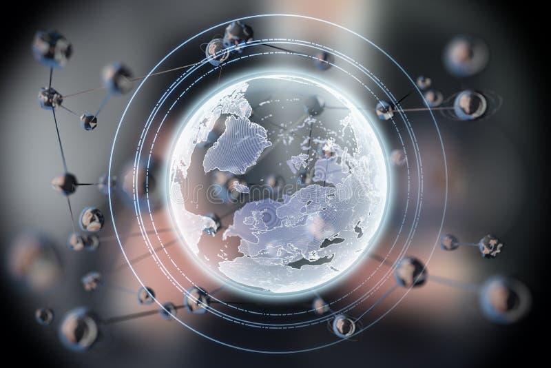 Abstrakt glödande sfärform Jord planet för begrepp 3d Vetenskap och teknikbakgrund arkivbild
