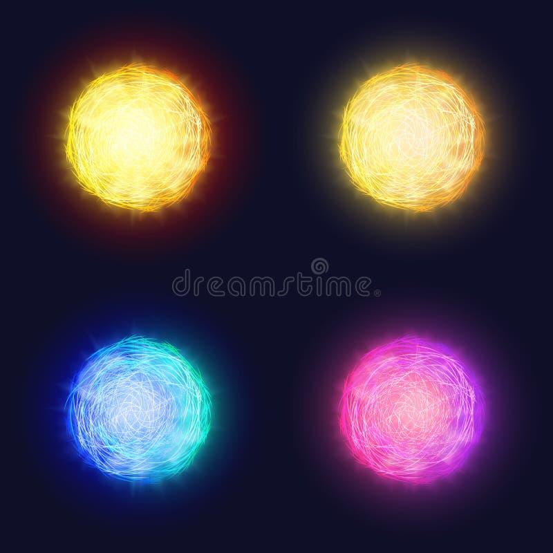 Abstrakt glödande sol- linssignalljuseffekt av att blänka solen Krans för planet för vektorneongalax eller färgstänk av glödande  stock illustrationer