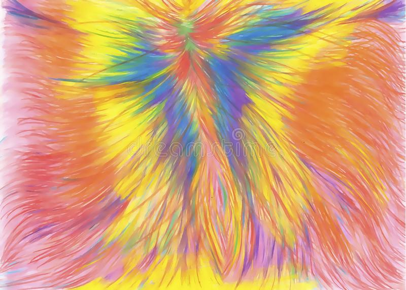 Abstrakt gladlynt regnbågemålning, phoenix, tumult av blommor, regnbåge, fantastiska färger royaltyfri illustrationer