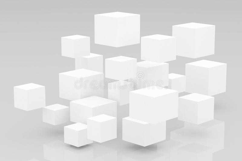 Abstrakt glansig bakgrund för kuber 3D stock illustrationer