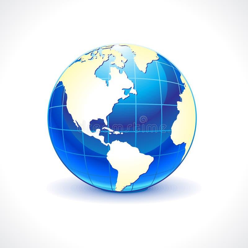 Abstrakt glansig blå jordklotsymbol vektor illustrationer