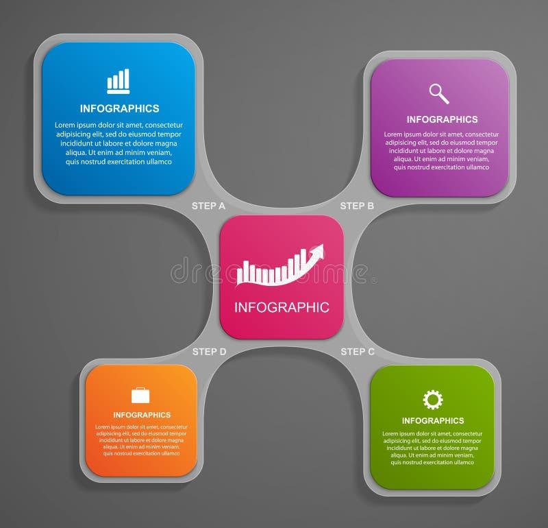 Abstrakt glass infographic designmall i den fyrkantiga formen vektor illustrationer