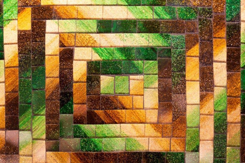 Abstrakt glass signal för brunt för mosaikbakgrundsgräsplan arkivbilder