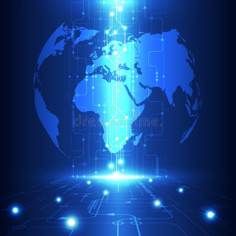 Abstrakt global framtida teknologi för vektor, elektrisk telekombakgrund stock illustrationer